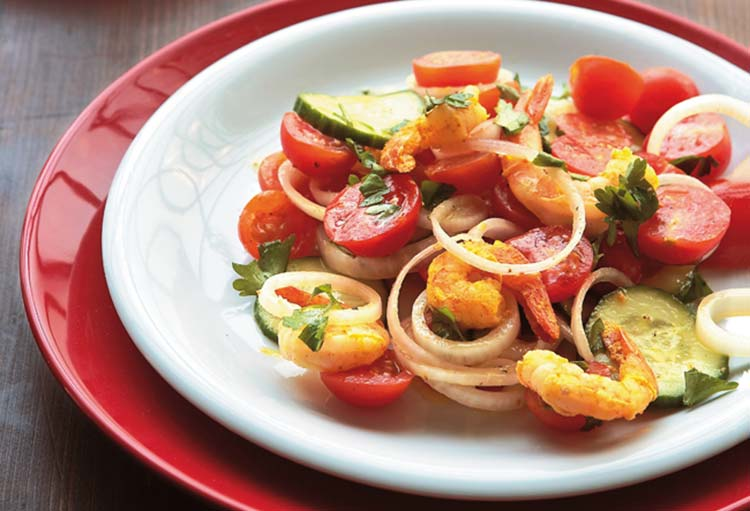 Γαρίδες με ντοματίνια και λάιμ